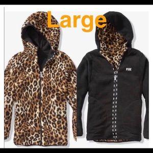 VS Pink Reversible Leopard Sherpa Jacket